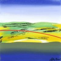 Paesaggio fantastico 12, tecnica mista su tela, 20x20, 2011